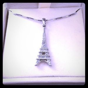 Jewelry - Sterling Silver & Diamond Eiffel Tower Necklace